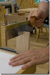 The dovetail saw is used for the vertical cuts.