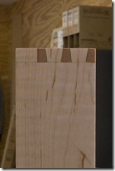 Completed through dovetails with pencil marks visible.