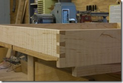 Completed through dovetails, beveled bottom and notch.
