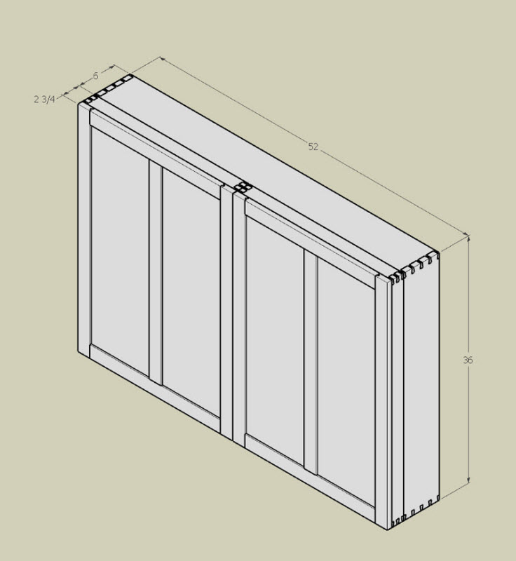 Wall hanging hand tool cabinet - closed.