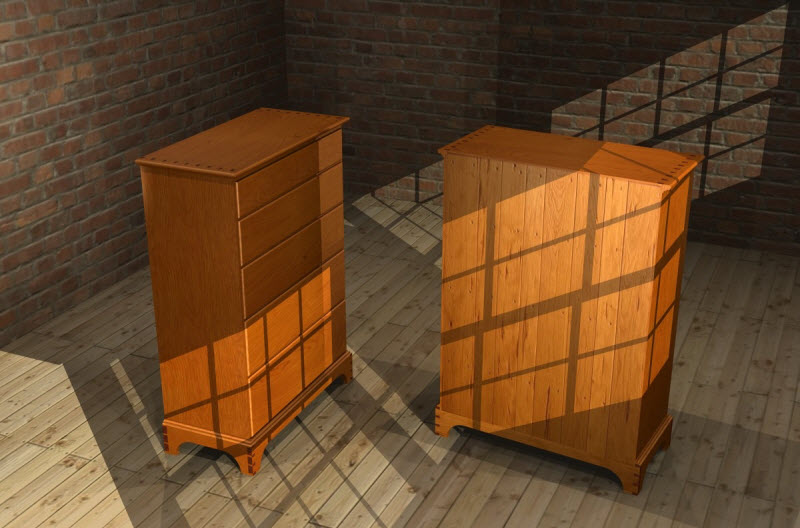 Cherry Chest Of Drawers Rendering
