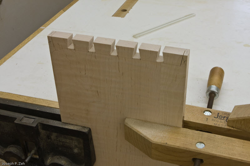 Tails roughed out with dovetail and fret saw.