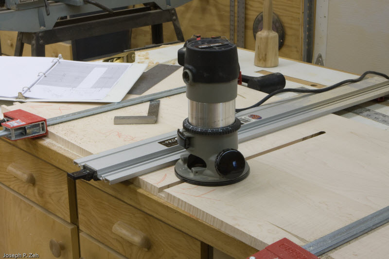 The top and bottom are clamped together to cut the sliding dovetail.