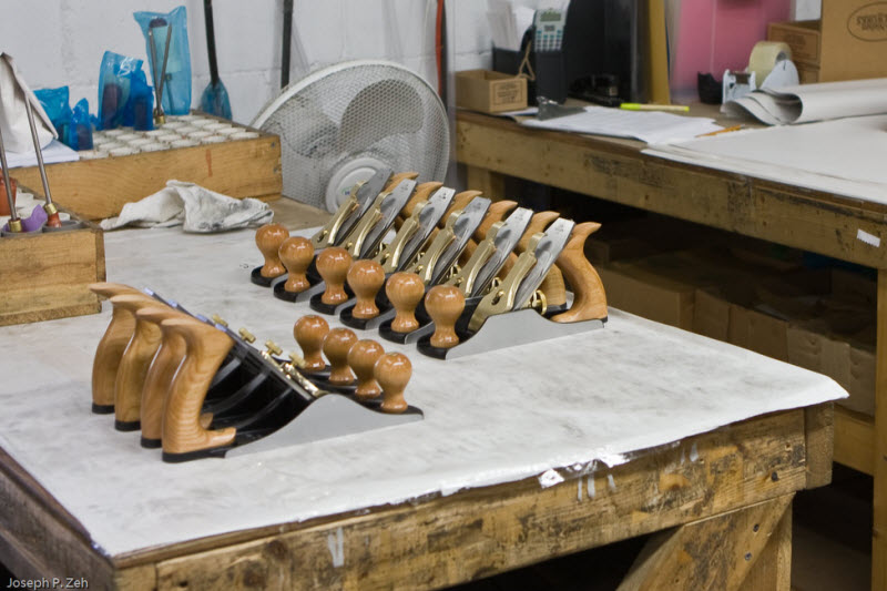 A group of No. 4 ½ Irons and Scrub Planes ready to be packaged and shipped.