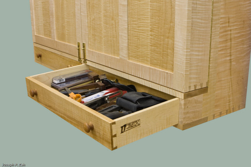 Wall Hanging Hand Tool Cabinet - Drawer Full