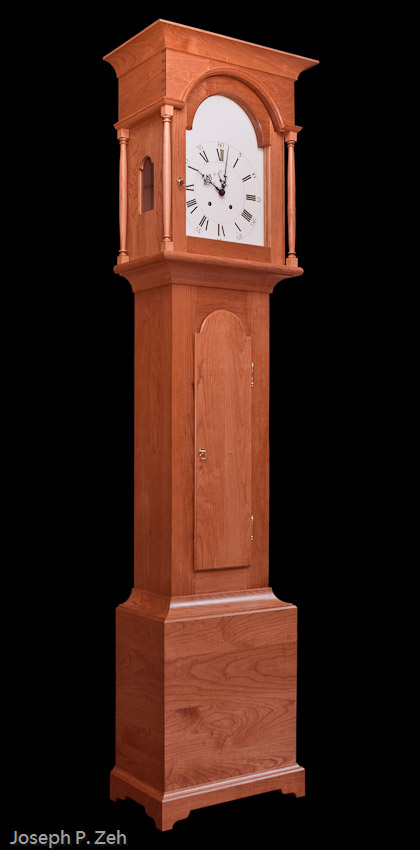 Shaker Tall Clock With Glare Removed And A Black Background