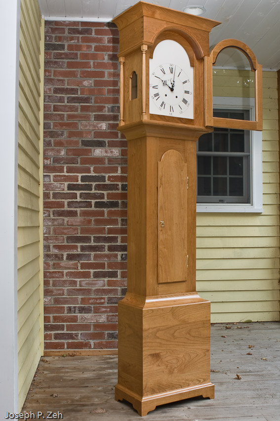 Shaker Tall Clock On My Front Porch On An Overcast Day - Notice Door Is Open