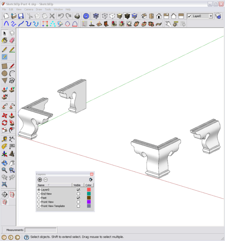 Ogee Bracket Feet In SketchUp