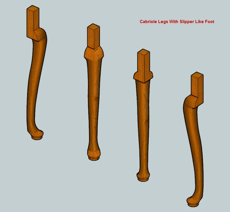 Cabriole Legs Drawn & Textured In SketchUp