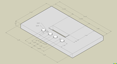 SketchUp Drawing Of Seatboard With Dimensions