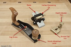 Components Of The Lie-Nielsen Low Angle  LN-164 Smooth Plane