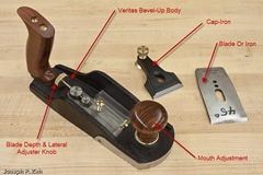 Veritas Bevel-Up Smooth Plane Components