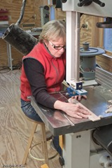 Willow At The Bandsaw Cutting The Scroll Work
