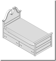 Isometric View Of Bed & Trundle