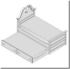 Isometric View With The Trundle Pulled Out