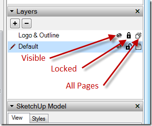 Layers Dialog Icons - Visible, Locked & Appear On All Pages