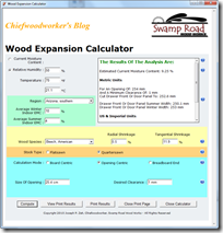 Wood Expansion Calculator 1.0 Sample Input Page