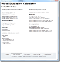 Wood Expansion Calculator 1.0 Sample Output Page