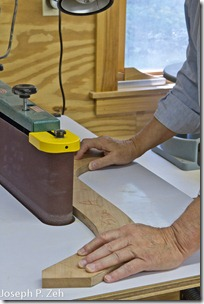 Shaping Cherry Template On The Grizzly Edge Sander