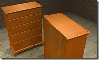 Textured &amp; Rendered Cherry Chest Of Drawers 3D Model - Note Shadows