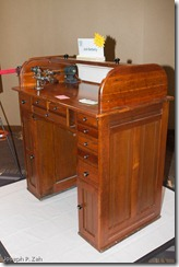 Patricia's Restored Desk With A Jeweler's Lathe On Top.