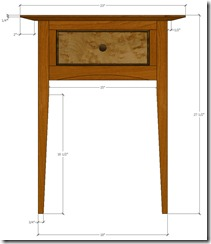 SketchUp model of the Bedside Table showing the beveled top.