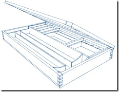 A SketchUp Sketchy Rendering of the Drafting Table Inside