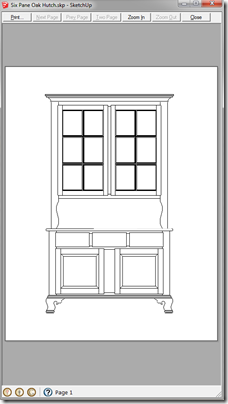 Print Preview Window with Hutch Printed to Scale of 1:10