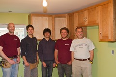 Greg, on left, and students on installation day.