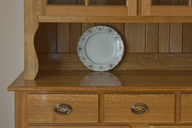 Six Pane Oak Hutch plate display.