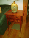 Tiger maple side table finished in Golden Amber aniline dye.