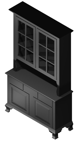 Six pane oak hutch isometric view.